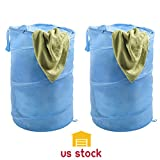 Houzz Laundry Room Thegood88 Set of 2 Pop Up Clothes Hamper Light Blue with Zippers and Carrying Straps