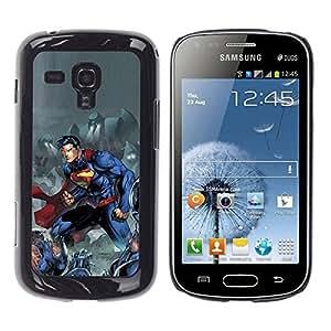 rígido protector delgado Shell Prima Delgada Casa Carcasa Funda Case Bandera Cover Armor para Samsung Galaxy S Duos S7562 /Man Blue Comic Character/ STRONG