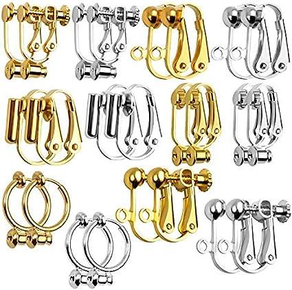 Pendientes Clip Componentes,12 Pares 6 Estilos Convertidores de Pendientes Clip Aretes Accesorios sin Agujeros para Hacer Joyas,Plata & Oro