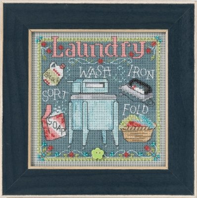 Laundry Beaded Counted Cross Stitch Kit Mill Hill 2017 Butto