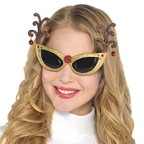 Amscan Festive Christmas Glittered Antler Fun Shades (1 Piece), Multicolor, One Size Gold Glitter Jingle Bell
