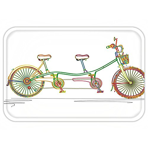 VROSELV Custom Door MatDecorative Colorful Tandem Bicycle Design on White Background Pattern Clipart Style Print Multicolor Bicycle Clipart