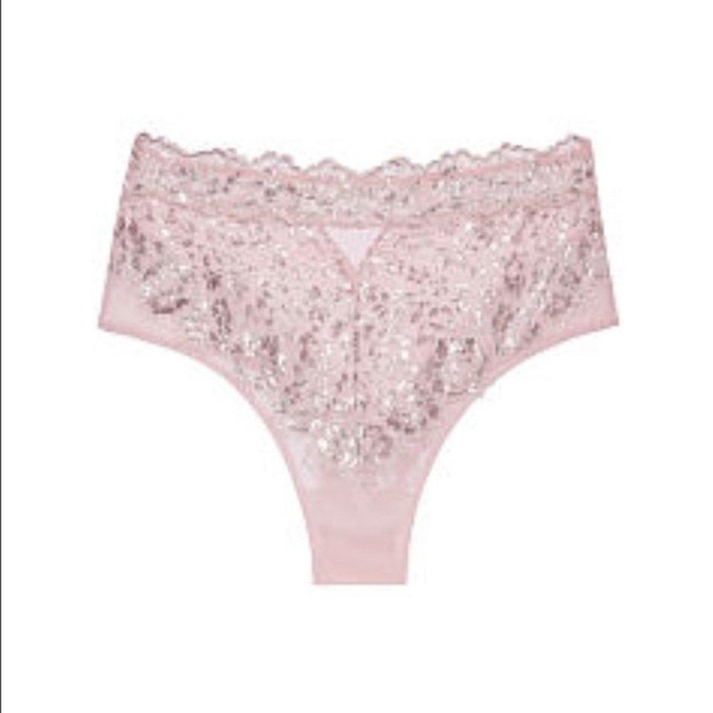 76ab141a781b Victoria's Secret Dream Angels Wicked Pink Metallic Lace High-Waist ...