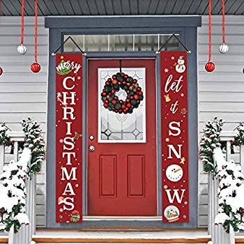 AVOIN Merry Christmas Let it Snow Porch Sign, Winter Holiday Snowman Hanging Banner Flag for Yard Indoor Outdoor Party 12 x 72 Inch