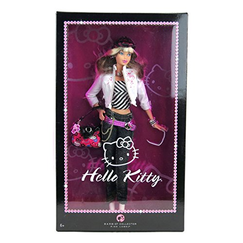 Mattel Year 2007 Barbie Pink Label Collector Series 12 Inch Doll - HELLO KITTY Barbie with Jacket, Hat, Necklace, Purse, Sunglasses, Bracelet and Doll - Kitty Hello Collectors