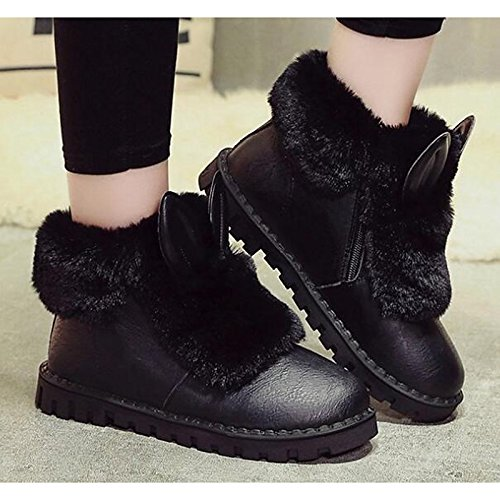 Grey Heel Booties Casual PU Shoes Comfort Ankle Flat Snow Black Boots HSXZ for Women's Fall ZHZNVX Gray Winter Boots Boots wPH7Hq