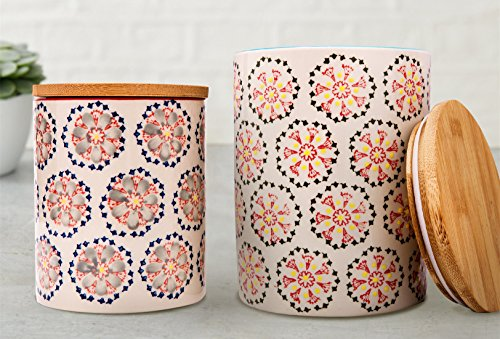 Kitchen Canister Set 2 Stoneware Jars for Tea, Coffee, Sugar, Vintage Embossed Floral Pattern, Gifts for Her (Set Retro Canister)