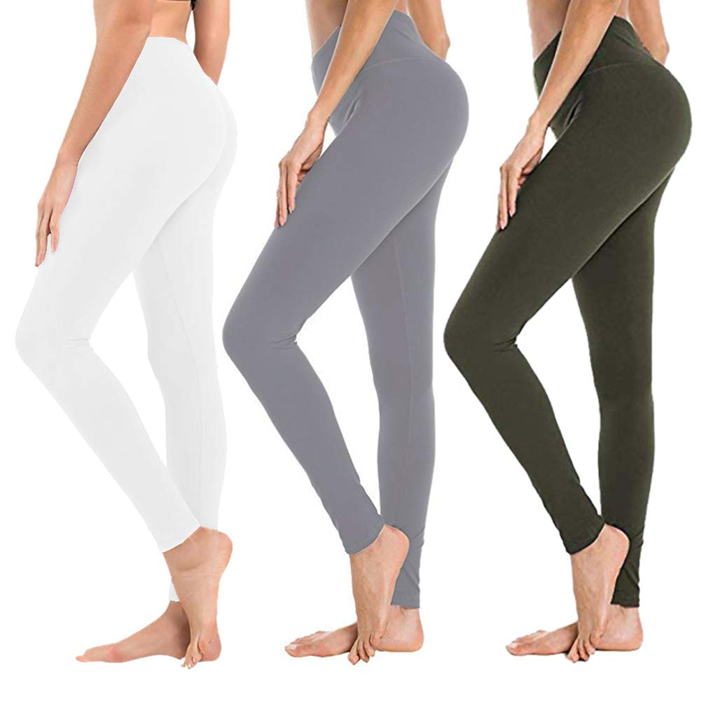 High Waisted Leggings for Women - Soft Athletic Tummy Control Pants for Running Cycling Yoga Workout - Reg & Plus Size (3 Pack White, Light Grery, Olive, One Size (US 2-12)) by SYRINX