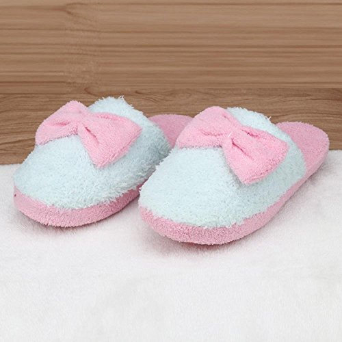 Culater® Women Lovely Home Soft Slippers Indoor Bowknot Slippers Anti-slip Shoes Green nDyaRW