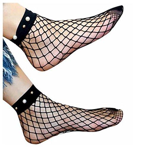 Calcetines De Mujer Fish Net, Inkach Moda Niñas Calcetín De Pera Mallas Calcetines Altos De Malla Malla De Encaje Calcetines Cortos Negro