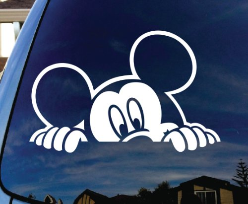 Mickey Mouse Peeking Car Window Vinyl Decal Sticker - Set of 5