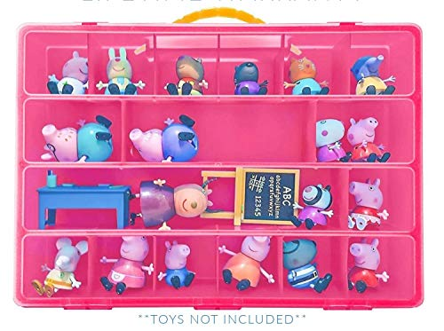 Toy Organizer with Carrying Handle, Fits Up to 40 Figures and Compatible with Peppa Pig Mini Figures, Pink]()
