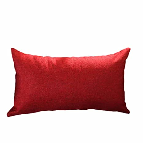 Bigoing - Funda de cojín Rectangular de Seda, diseño de decoración del hogar, Seda sintética algodón, Rojo, Talla única
