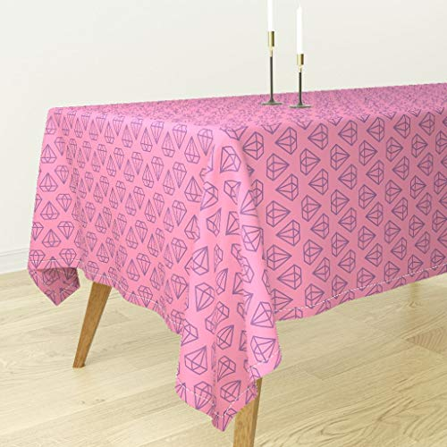 Pink and Purple Diamonds Tablecloth - Pink Diamonds Nursery Diamonds Diamond Outline Pink Purple Geometric Gems Hipster by EWA Brzozowska - Cotton Sateen Tablecloth 70 x 108