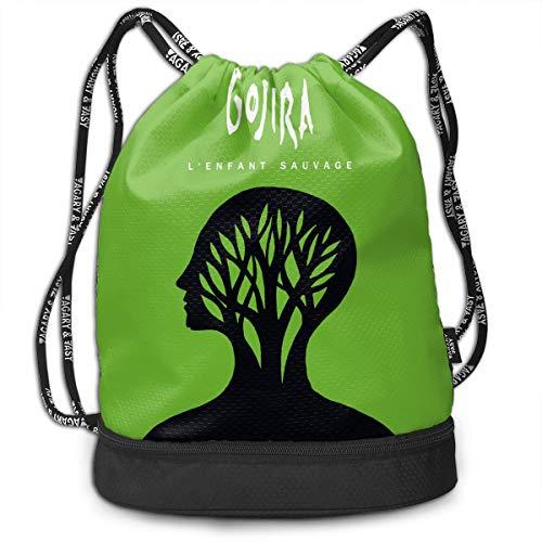 NNJD Gojira L'Enfant Sauvage Drawstring Bag Bundle Backpack School Backpack Sport Bag for Men & Women