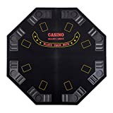 BLACK 48'' 4 FOLD FOLDING PRO STYLE 8 PLAYERS OCTAGON POKER TABLE TOP VELVET TABLETOP BLACKJACK TEXAS HOLDEM GAME CHOICE WITH CARRYING CASE