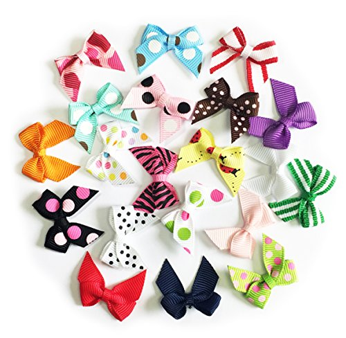 HipGirl 20pc Ribbon Applique Embellishment for Crafts, DIY Hair Bow Clips, Christmas Cards, Scrapbooks, 1