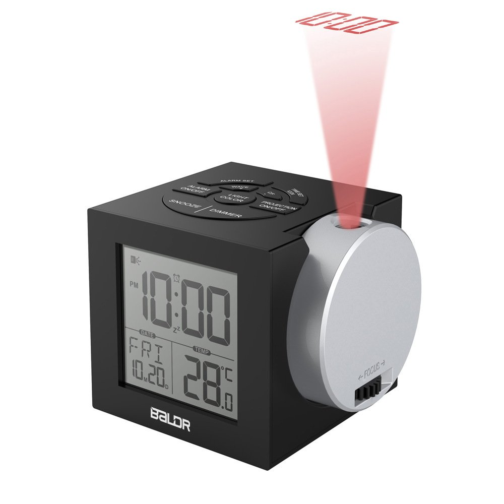 WMGS Digital Alarm Clock,Snooze Projection Clock with 7 Color Backlight,Dimmer LCD Screen,Easy to Set Bedroom Clock