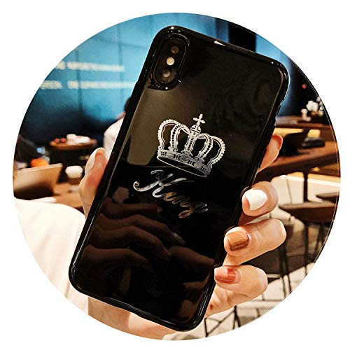 Military Cover Letter - Cartoon Crown Phone Case for iPhone X 8 Plus Letter King Queen Back Cover for iPhone 7 6 6S Plus Soft TPU Silicone Cases,AC2098,for iPhone 8 Plus