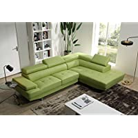 Mia Leather Sectional (Apple Green)
