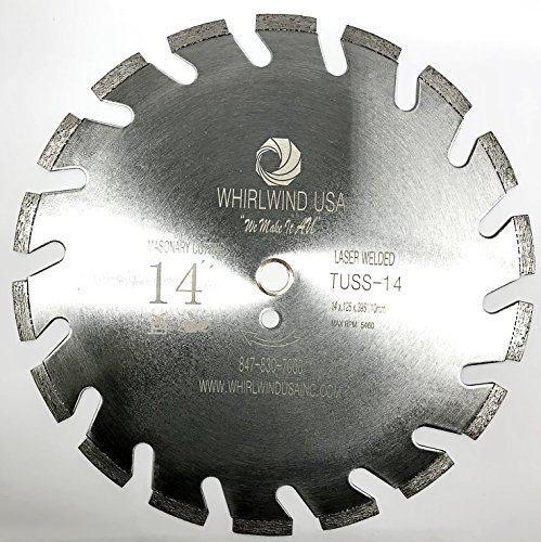 Whirlwind USA TUSS 14 inch U Slot Laser Welded Dry or Wet Power Saw Segmented Masonry Diamond Blades (Factory Direct Sale) (TUSS 14'') by WHIRLWIND USA