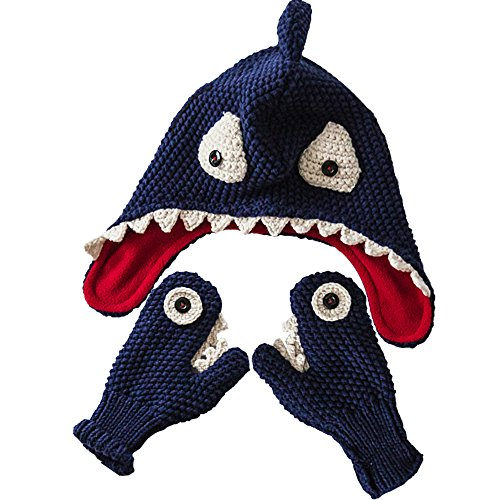 E.mirreh Package of Knitted Beanie Warm Hat and Gloves Baby Toddler Boy Handmade Shark Blue (Shark Beanie)