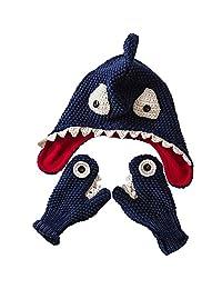 E.mirreh Warm Hat and Gloves Baby Toddler Boy Handmade Shark Blue