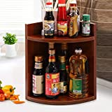 Scalloped Kitchen Corner Shelf - 24 * 24 * 38Cm-Desktop Wooden 2 Storey Storage Shelf Bedroom Bookcase,Save Space,Purple