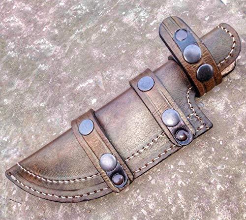 Ottoza Custom Handmade Dark Brown Right Hand Leather Knife Sheath for Tracker Knife - Bushcraft Knife - Hunting Knife - Survival Knife - Skinning Knife Horizontal Scout/Cow - Buffalo Leather No:122 - Scout Sheath