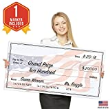Giant Fake Check for Endowment Award - 32'' x 16'' - Large Novelty Presentation Checks Plaque - Blank Big Reward Prize Spin Wheel Donation - Raffle Fundraising Winners Celebration - NOT Reusable