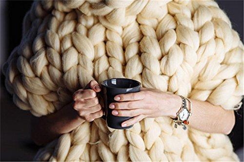 Giant Yarn Chunky Knit Yarn Wool Yarn Extreme Arm Knitting Colors 1 kg(2.2 lbs) Chunky Wool (Ivory) by HomeModa Studio (Image #5)