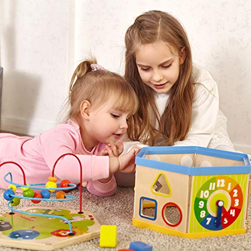 TOP BRIGHT Activity Cube Toys Baby Educational Wooden Bead Maze Shape Sorter 7-in-1 Toys for 1 Year Old Boy and Girl Toddlers Gift by TOP BRIGHT (Image #3)