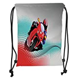 Custom Printed Drawstring Sack Backpacks Bags,Motorcycle,Biker on Road Digital Dot Background Fast Extreme Risky Leisure Graphic Work,Red Grey Blue Soft Satin,5 Liter Capacity,Adjustable String Closur
