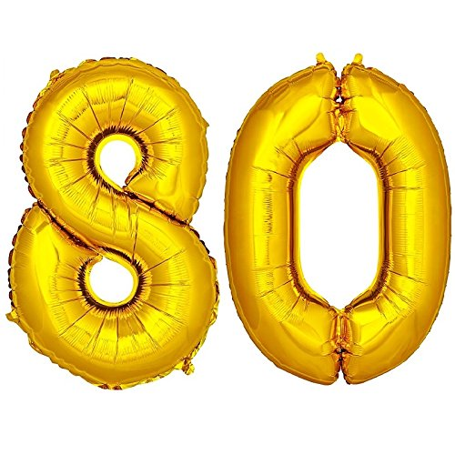 DekoRex® Foil Balloons 40'' 100cm Numbers for Birthday Party Anniversary for Helium or Air Filling Gold No. 80 ()