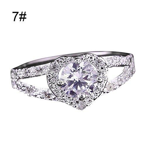 Ring,ZYooh Elegant Love Heart-Shaped Rhinestone Zircon Ring Engagement Wedding Band Ring (Silver, 7)