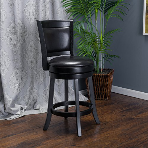 Great Deal Furniture Davis Black Bonded Leather Swivel Backed Counter Stool