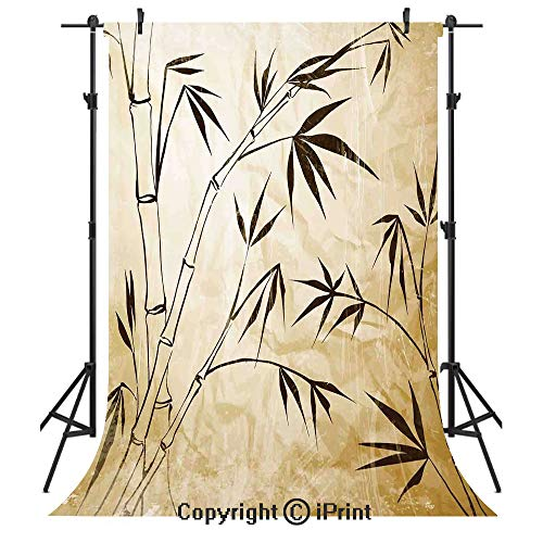 Bamboo House Decor Photography Backdrops,Gradient Bamboo Leaves Flexibility Complex Root Structure Stable Travelers Image,Birthday Party Seamless Photo Studio Booth Background Banner 6x9ft,Brown Cream