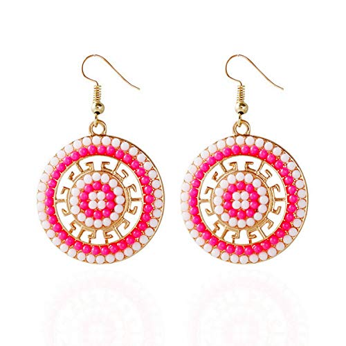 IDB Pretty Boho Circle Glass Seed Bead Hook Earrings - 1.96