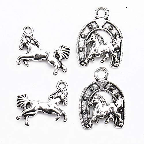 Horse Charm Jewelry - Monrocco 100 pcs Silver Tone Horse Charm Pendants Horseshoes Charms Jewelry Making DIY Craft Charm