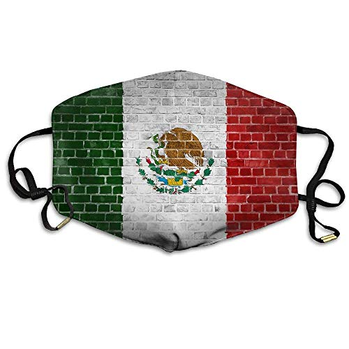 (HANBINGPO Unisex Mexico Flag On Brick Wall Anti Dust Mouth-Muffle Masks Mouth Face Masks WhiteOne Size)