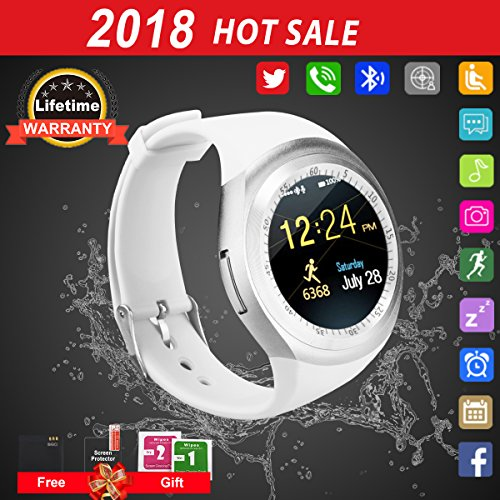 Bluetooth Smart Watch Touchscreen with Camera,Unlocked Watch Cell Phone with Sim Card Slot,Smart Wrist Watch,Waterproof Smartwatch Phone for Android Samsung IOS Iphone 7 6S Men Women Kids (White 1)