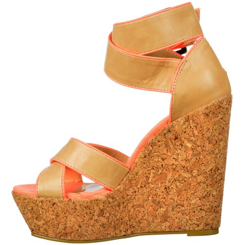 Ankle Rosa Tan Peep Wedge Over Cross Strap Frauen Cork Toe Damen Korallenrote rosa Plattformen Dolcis gqB6x6wz
