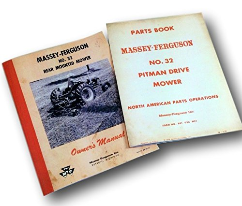 Massey Ferguson Mower Parts - Massey Ferguson No 32 Rear Mounted Mower Parts Book Operators Owners Manual Set