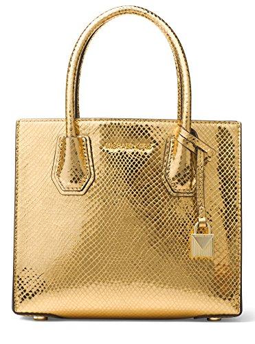 MICHAEL Michael Kors Mercer Mini Shimmer Messenger Bag, Gold by Michael Kors