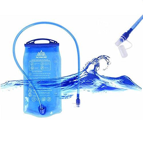 LARS360 2L PEVA Wasserbeutel Blau Hydratation-Blasen Faltbare Trinkblasen Trinksystem für Camping Wandern Reiten und Klettern