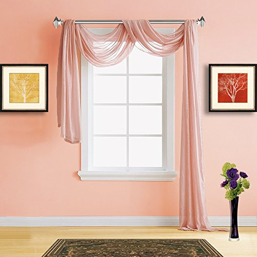 Warm Home Designs Extra Long Coral Pink (Light Orange) Sheer Window Scarf. All Premium Valance Scarves are 54 X 216 Inches in Size and are Great Window Toppers for Any Room. Color: K Coral 216