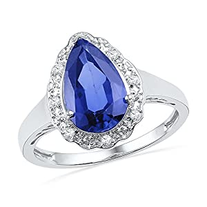 Size - 5.5 - Solid 925 Sterling Silver Pear Round Blue Simulated Sapphire And White Diamond Engagement Ring OR Fashion Band Prong Set Solitaire Shaped Halo Ring (.06 cttw)