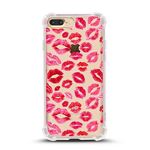 iPhone 8 PLUS case, with Shock Absorbent (5.5 inch screen), lips prints pattern Design (Compatible with iPhone 8 PLUS ONLY, not iPhone 8) (Print Design Screen)