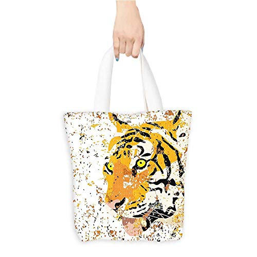 (Best Canvas Grocery Shopping Bags Theme Vector Tiger Grunge Style Orange Natural Color & Eco-Friendly W16.5 x H14 x D7 INCH)