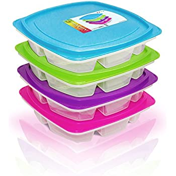 Happy Lunchboxes 4-compartment Leak Proof Bento Lunch Box Containers for Adults - Set of 4 (Large)